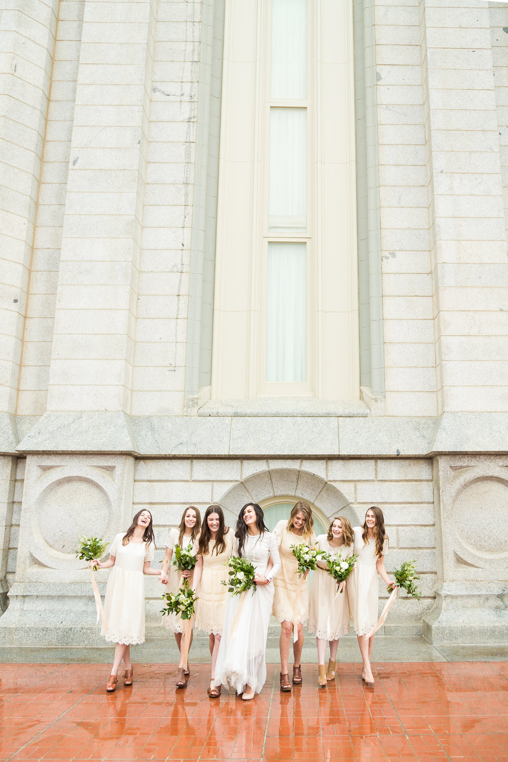 Bridesmaids at the Salt Lake LDS Temple