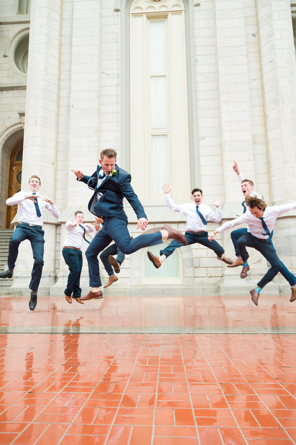 Groomsman Jump at the Salt Lake City LDS Temple
