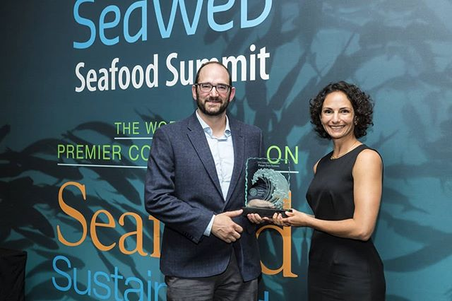 Our CEO, Dave Solomon, and COO/Chief Scientist, Melissa Garren accepting the Seafood Champion Award in #Innovation at the @seafoodsummit in Barcelona. A huge congrats to the award winners in #Leadership #Vision and #Advocacy!! Here's to a brighter future for #fishing and #seafood!