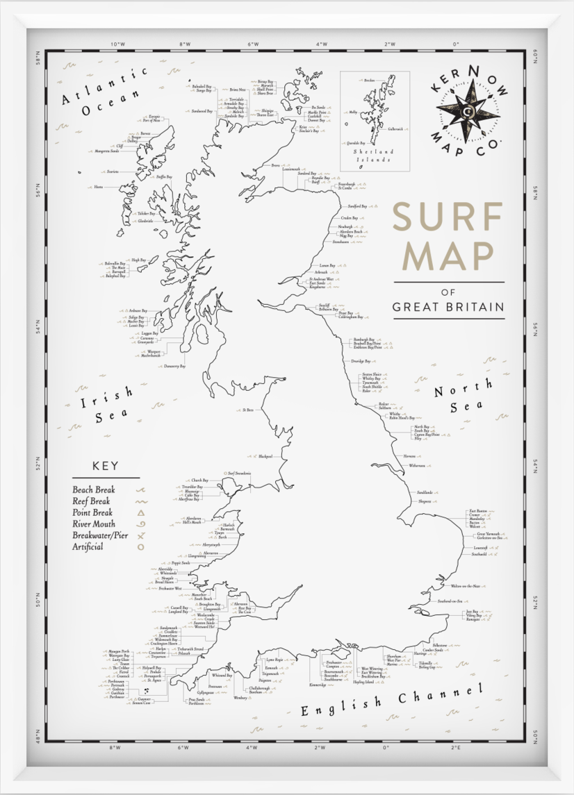 Surf Map of Great Britain £50 - By Kernow Map Co.
