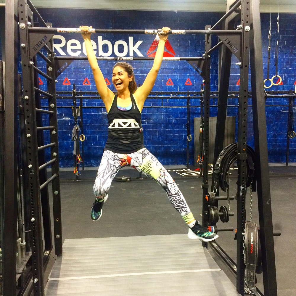 Trying to show off after taking a cross fit class at Reebok HQ!