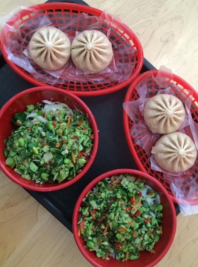 Wow Bao platter. Edamame salad and veggie buns