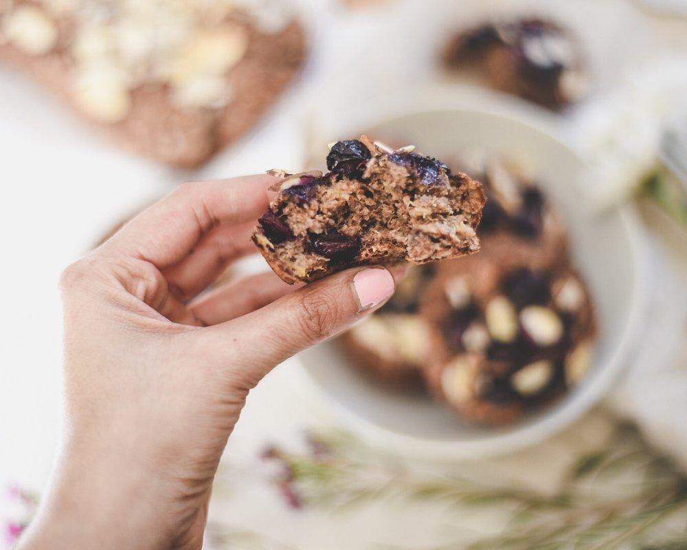 BLUEBERRY + BANANA MUFFINS (Vegan, gluten and nut free)