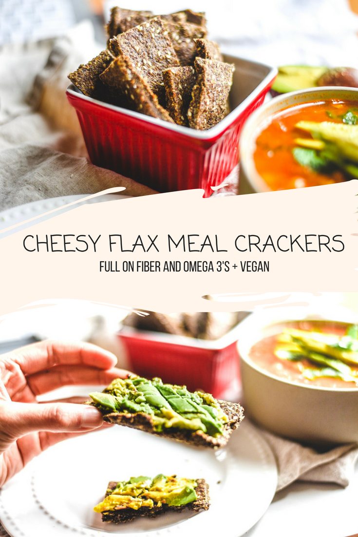 CHEESY FLAX MEAL CRACKERS - Full on fiber and omega 3's (VEGAN)