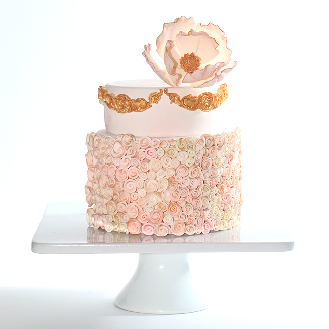 Gold Pink Rosette Cake Style Sweet Ca