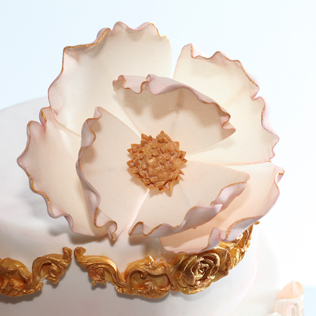 Gold + Pink Rosette Cake — Style Sweet