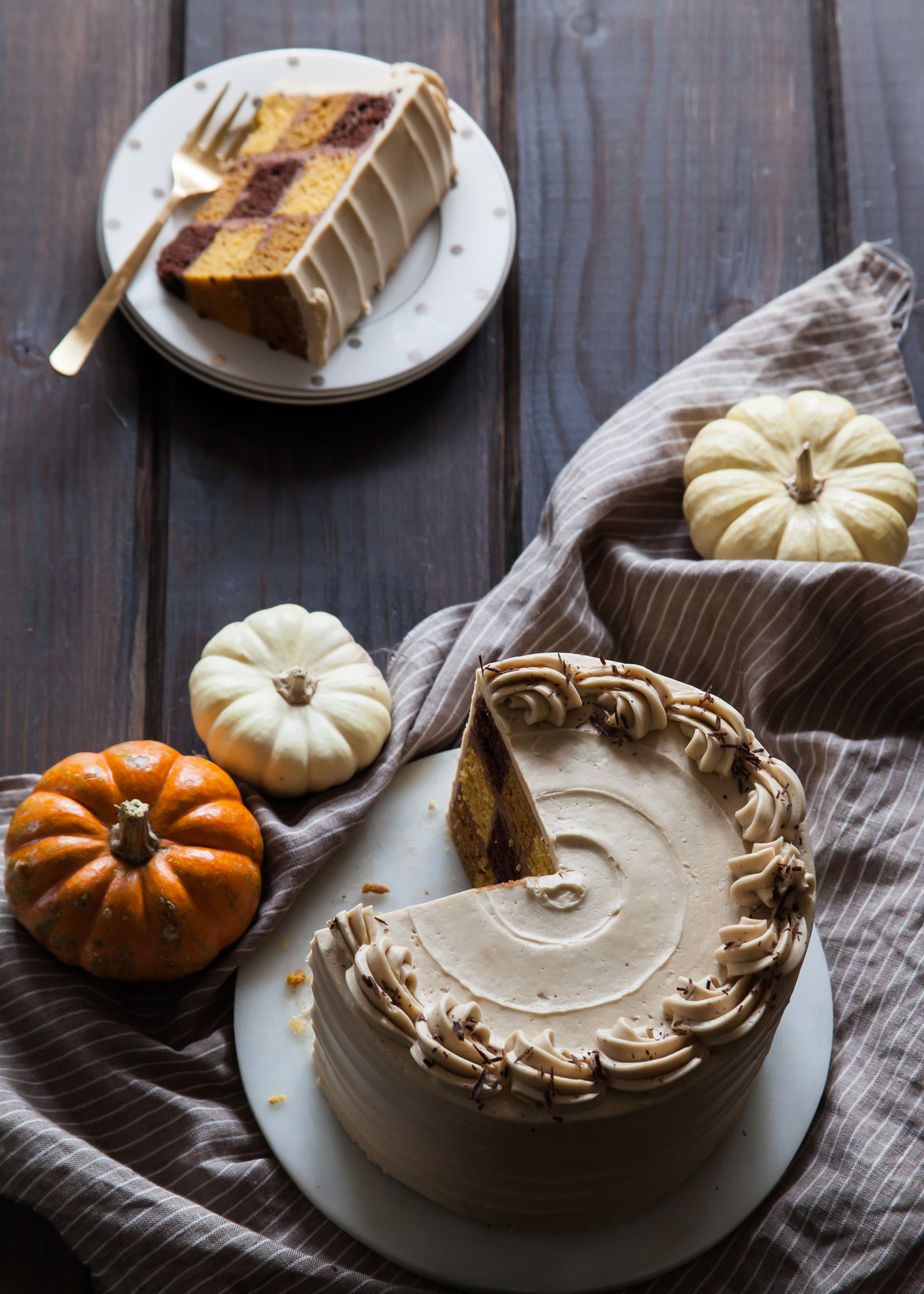 Chocolate Stout and Pumpkin Checkerboard Cake — Style Sweet CA