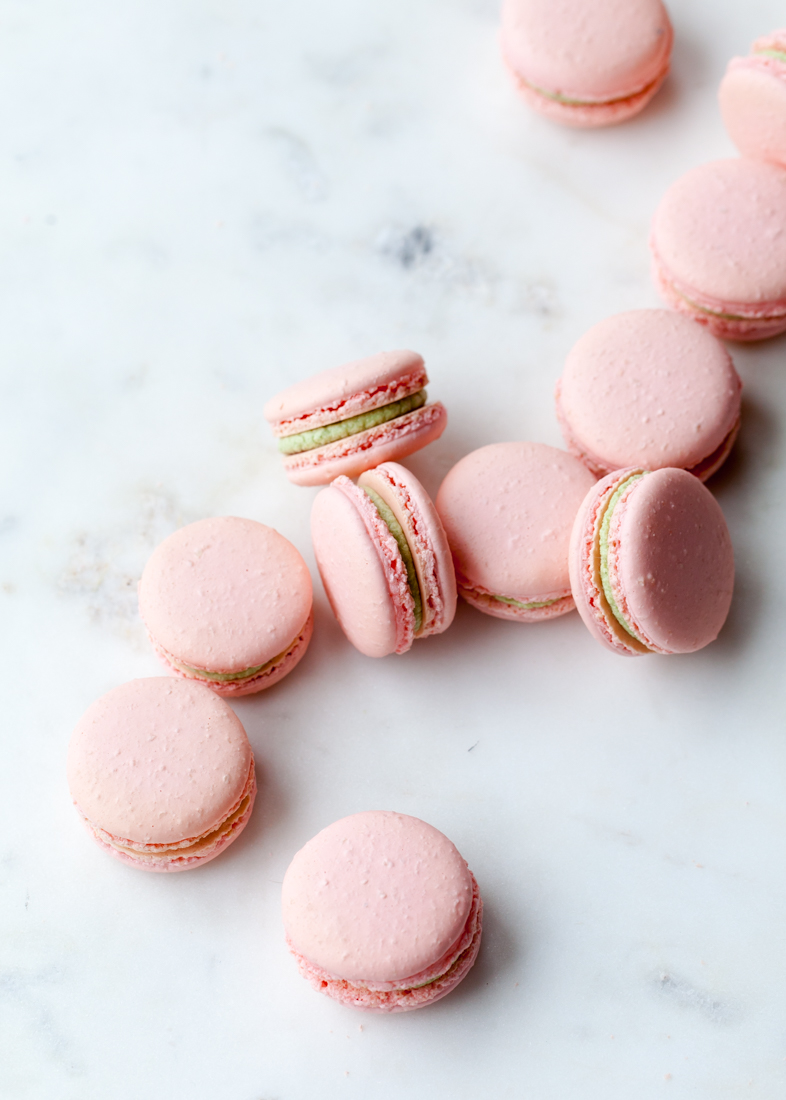 Matcha Raspberry Macarons