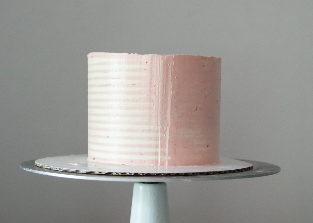 How to make a striped buttercream cake.