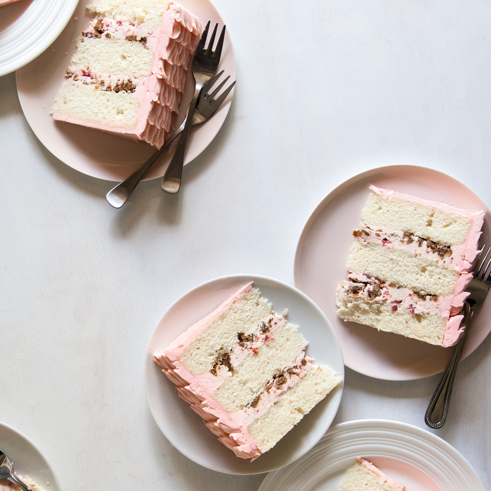 "Riesling Rhubarb Crisp Cake Slices from ""Layered."""