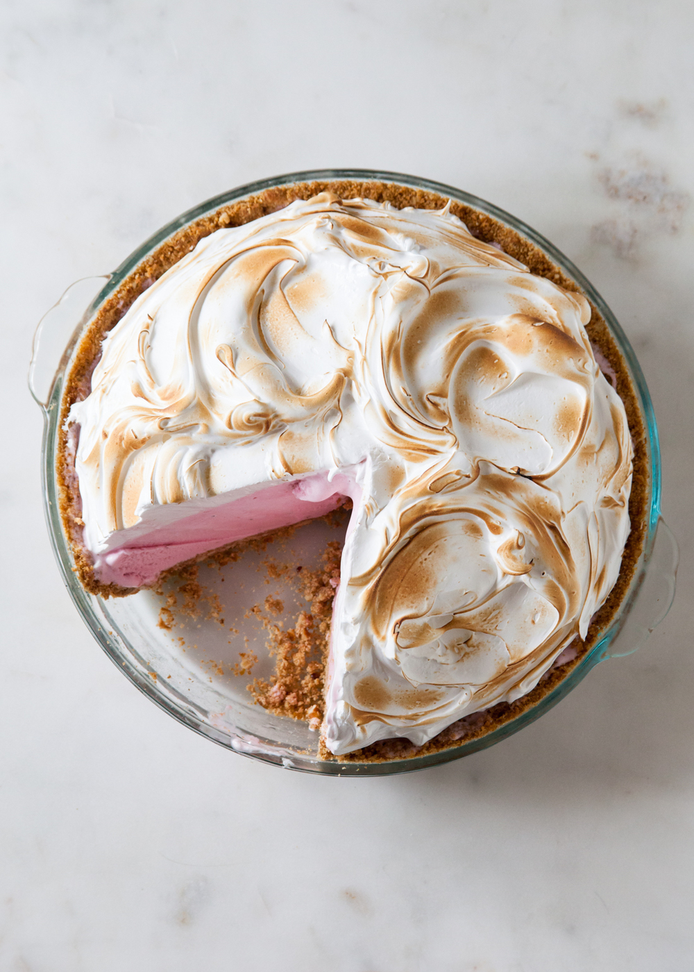 Baked Alaska Ice Cream Pie with a pretzel crusted and toasted meringue topping.