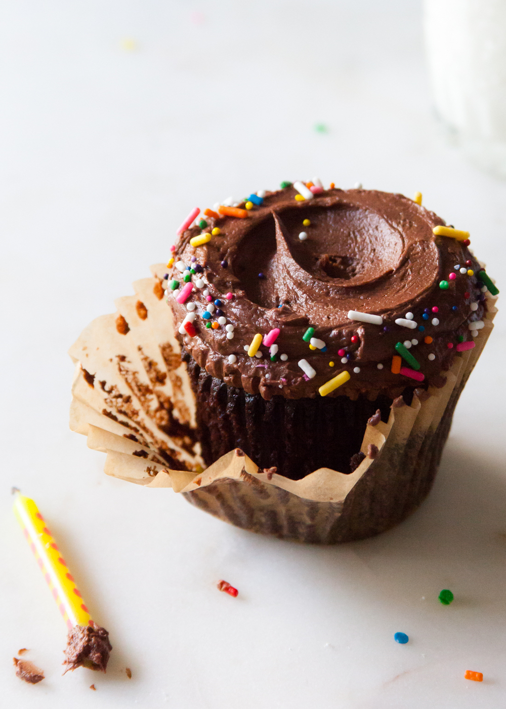 The Best Devil's Food Chocolate Cupcake Recipe with fluffy fudge frosting.
