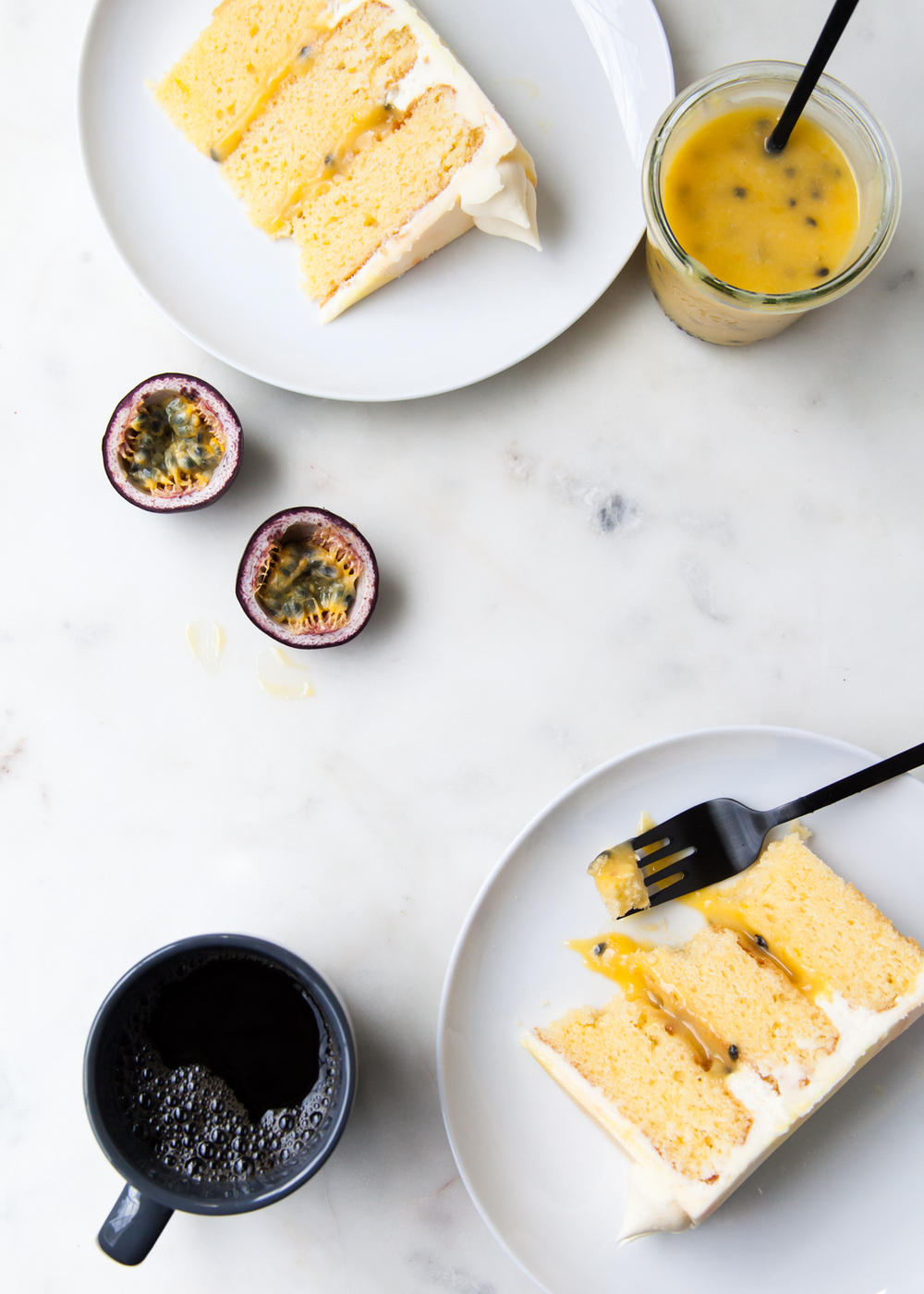 Passion fruit layer cake with coconut and cream cheese frosting.