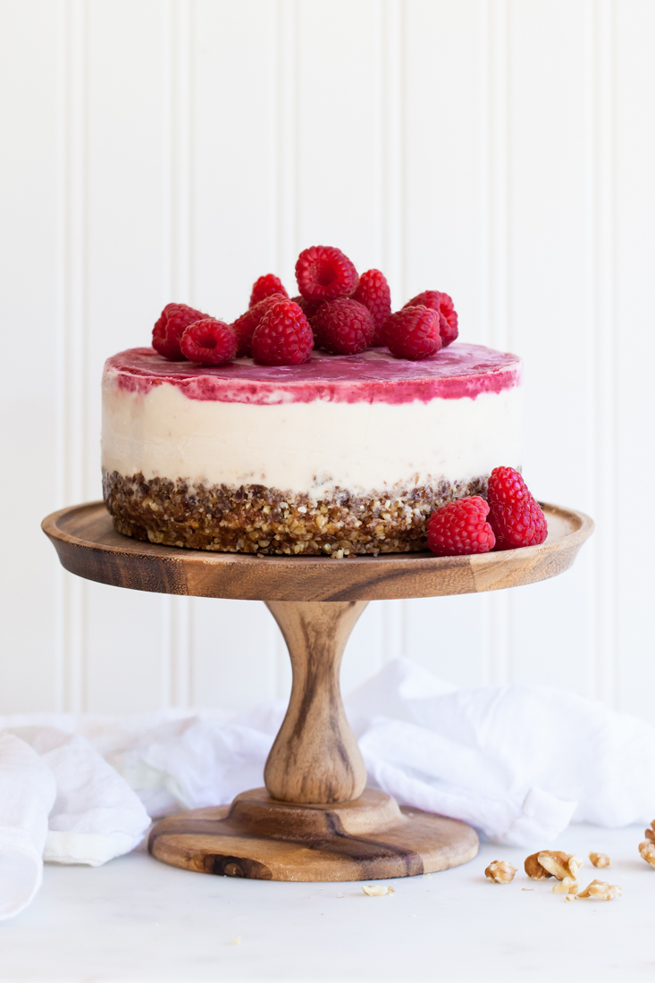 Frozen raspberry cashewmilk cake - gluten, diary, and egg free.