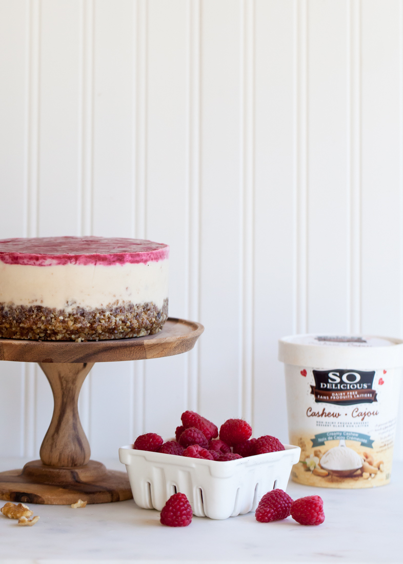 Frozen raspberry cashewmilk cake - gluten, diary, and egg free.