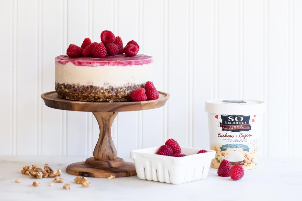 Frozen raspberry cashewmilk cake - gluten, dairy, and egg free.