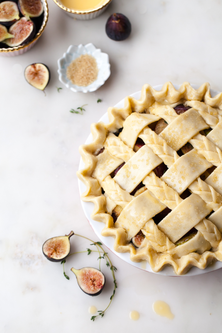 Fig Plum Pie with thyme and an all-butter crust.