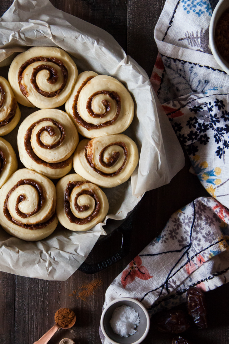 Date Cinnamon Rolls with Bourbon Cream Cheese Frosting.