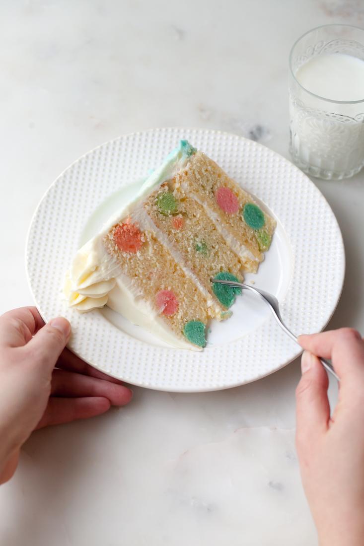 Rainbow Polka Dot Cake