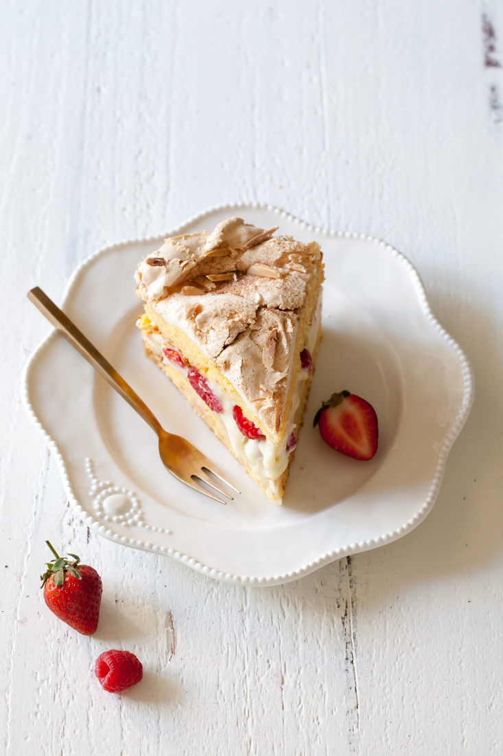 Berry Torte with crispy meringue and pastry cream filling.