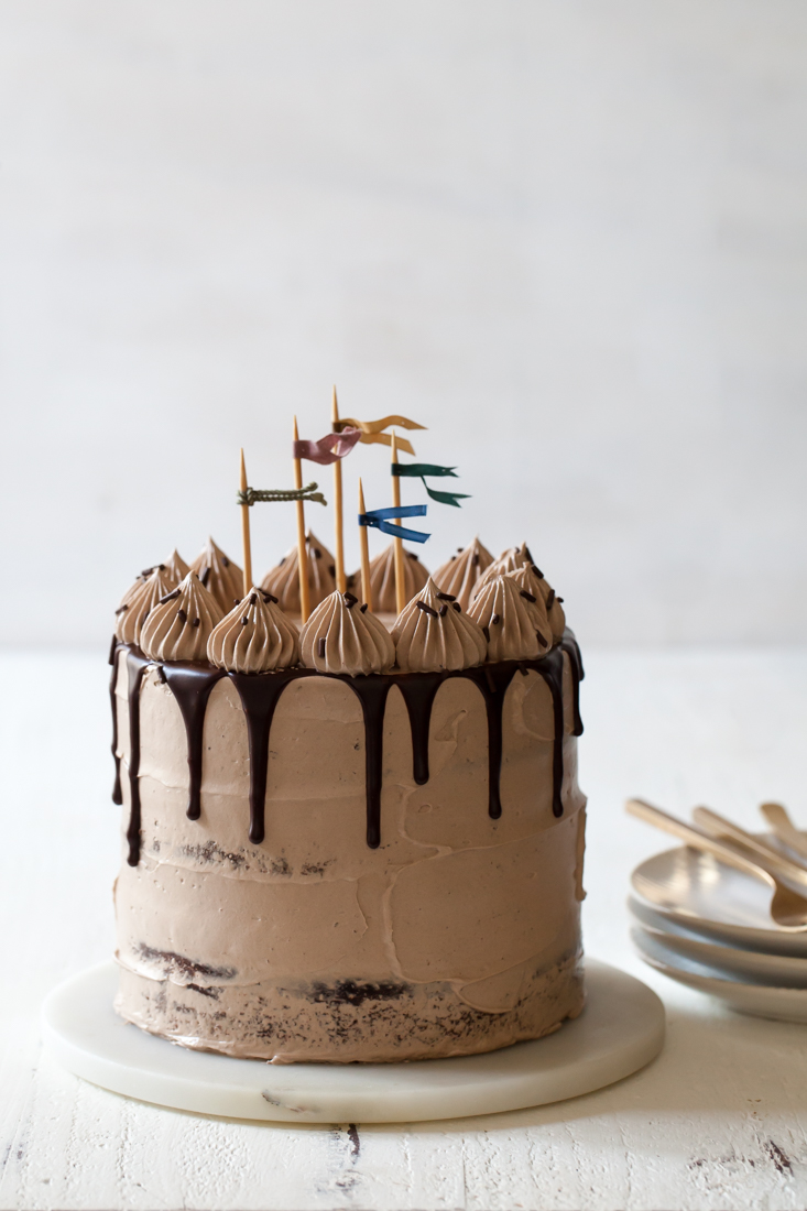 Triple Chocolate Fudge Cake with Milk Chocolate Cloud Frosting