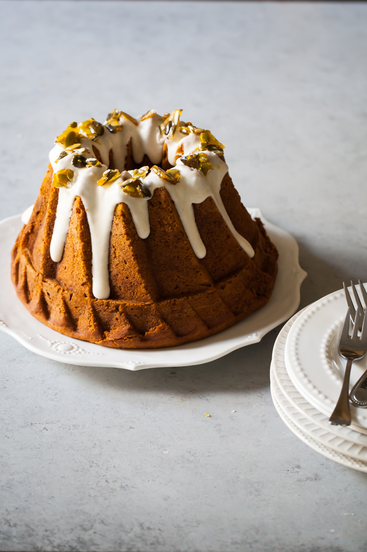Pumpkin Bundt Cake Recipe with Cream Cheese Glaze and Pumpkin Seed Praline