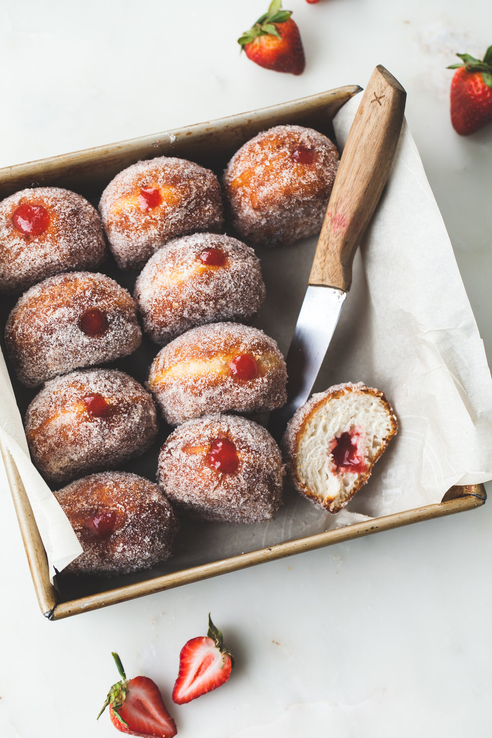Strawberry Rhubarb Filled Donut Recipe