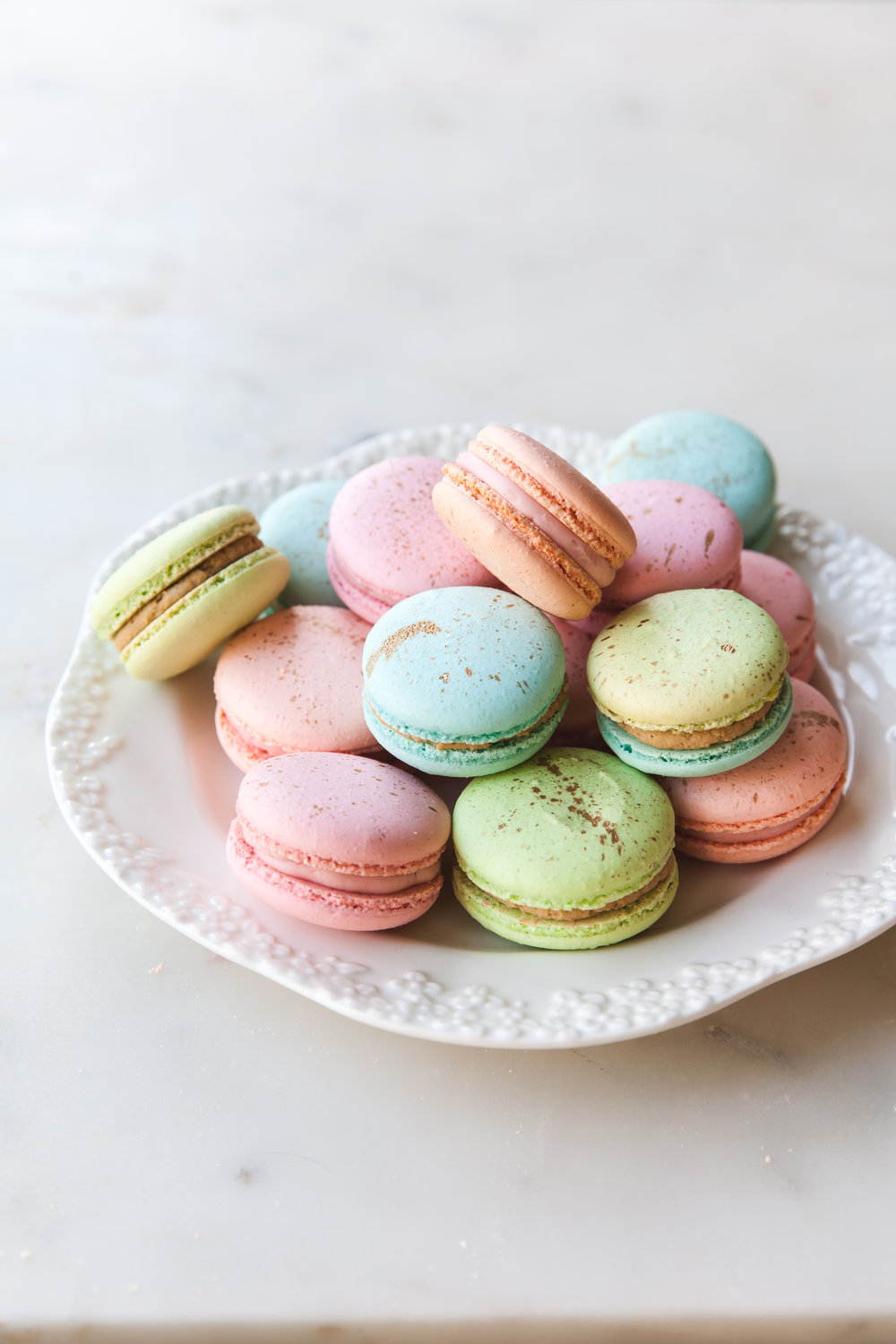 Pastel and Gold French Macarons