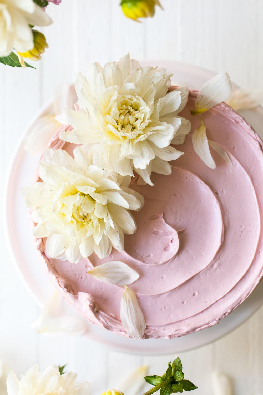 Lemon Poppy Seed Raspberry Layer Cake with French Buttercream
