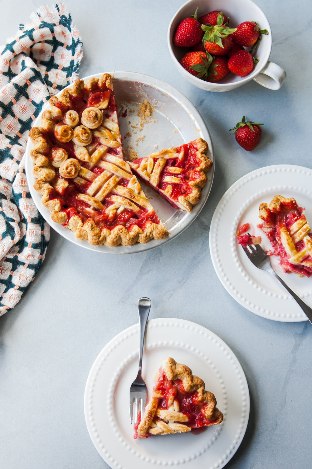 Citrus Strawberry Rhubarb Pie for Pi(e) Day March 14th