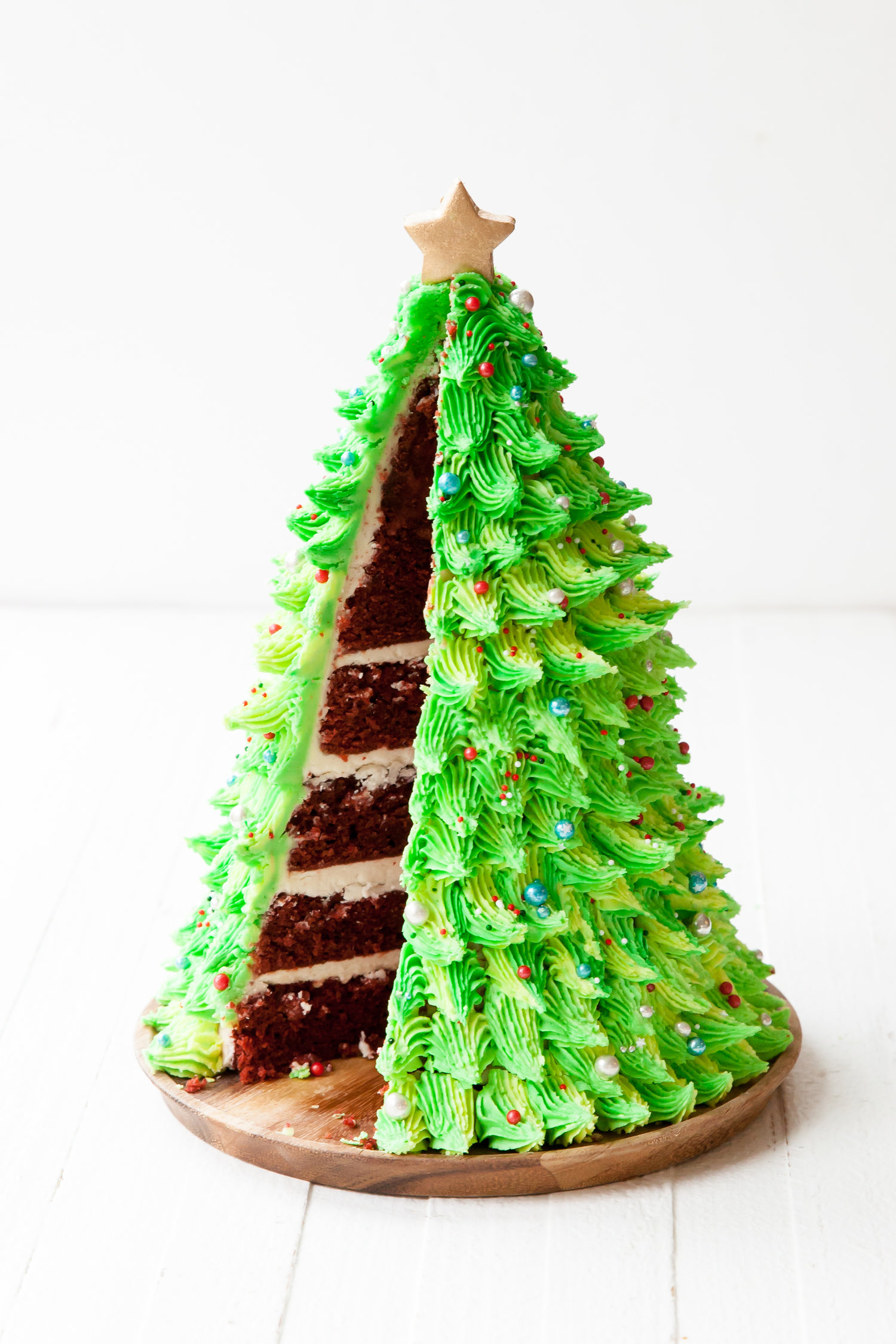 Red Velvet Christmas Tree Cake Style Sweet Ca