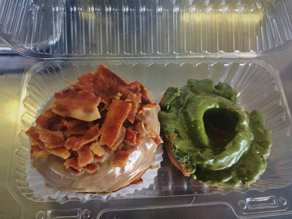 Maple Bacon Cronut + Green Tea Old Fashioned Donut