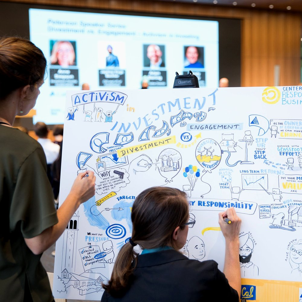 Traditional Graphic Recording - Our graphic artists illustrate on large foam-core boards for the audience to see.
