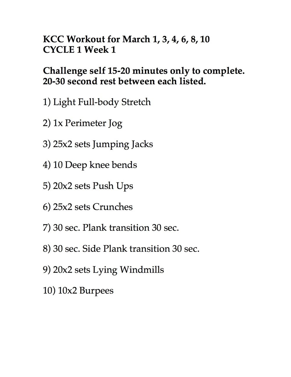 WEEK 2 CYCLE 1