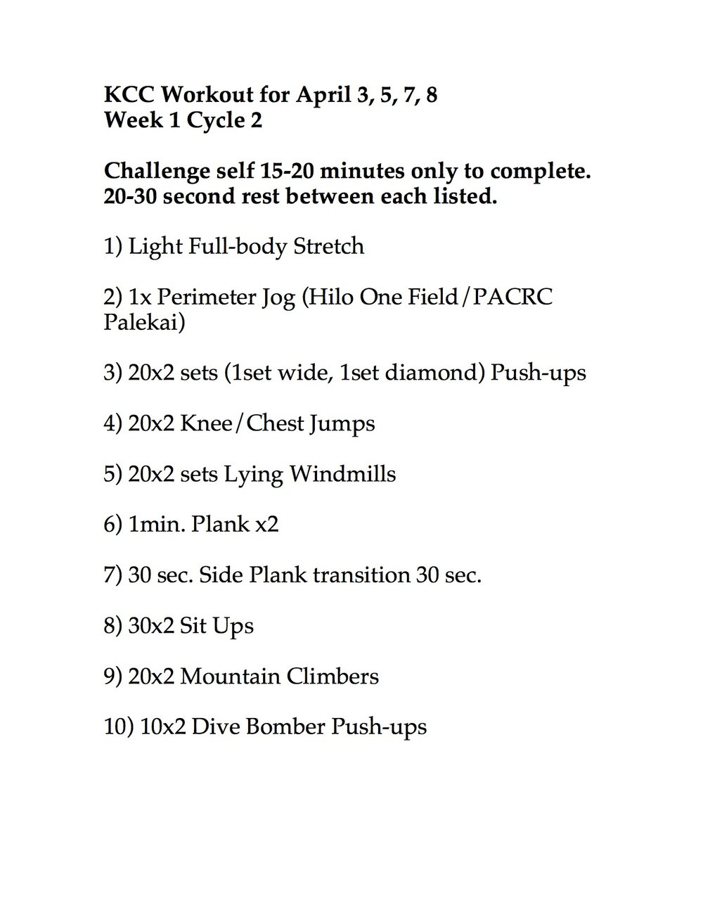 WEEK 2 CYCLE 2