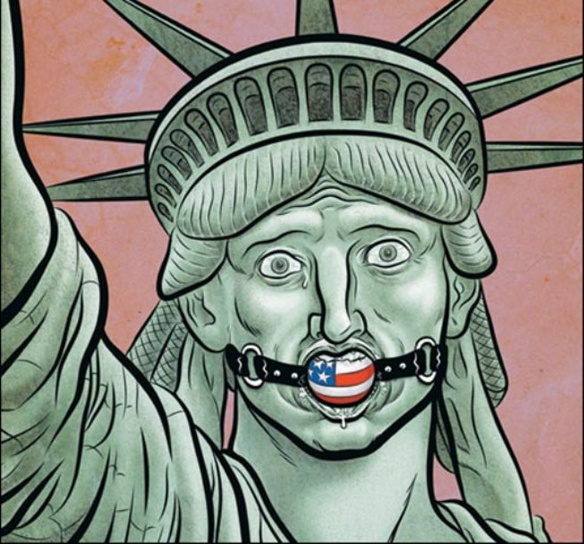 "Image accompanying an article entitled ""The Madness of Political Correctness in the USA""  (http://www.pravda-tv.ru/2015/05/29/152052/bezumie-politkorrektnosti)"