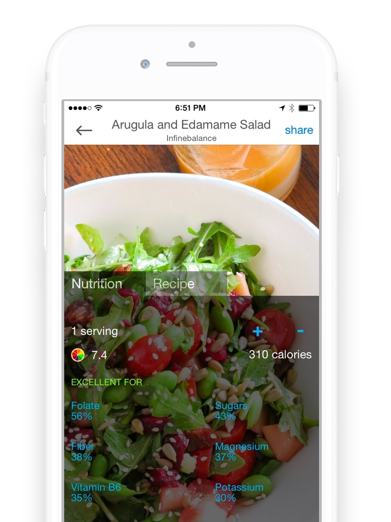 Nutrition in Recipe app