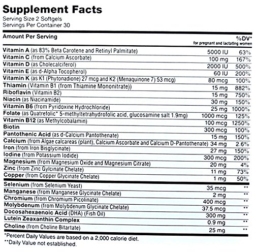 Zahler Prenatal DHA Nutrition label
