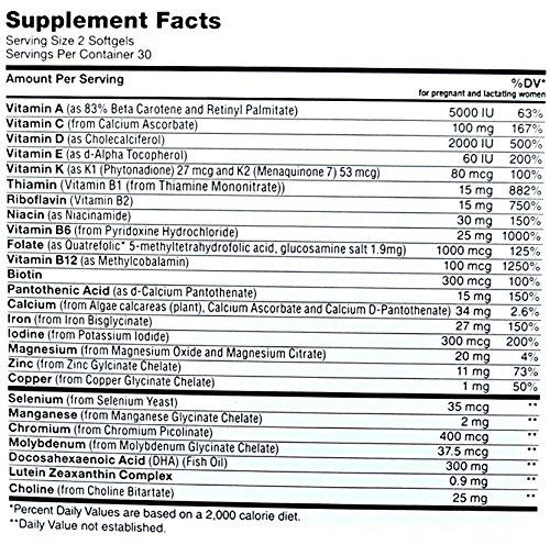 Zahler Prenatal DHA Nutrition label