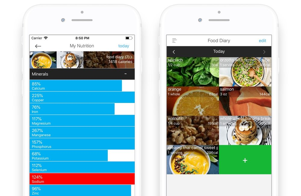 Wholesome app Nutrition tracker with warning for high sodium (left) and corresponding food diary (right)
