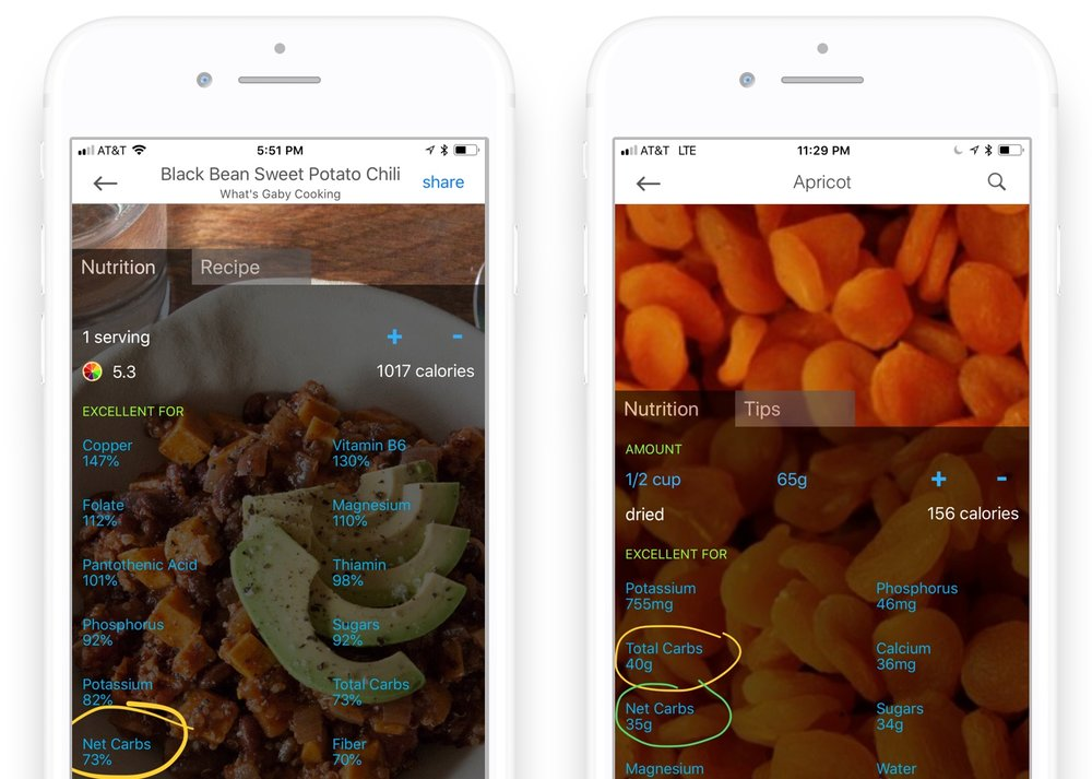 Wholesome calculates the net carbs and total carbs in your recipes (left) and foods (right). View in your choice of % daily goal (left) or grams (right).
