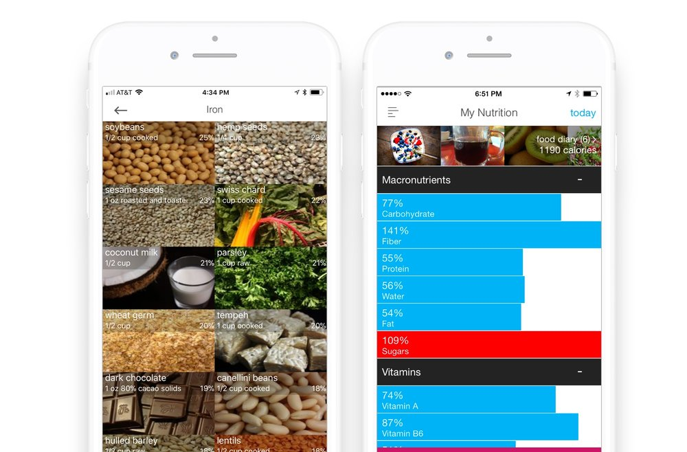 Wholesome app: Top food sources richest in iron (left), Nutrition tracker (right)