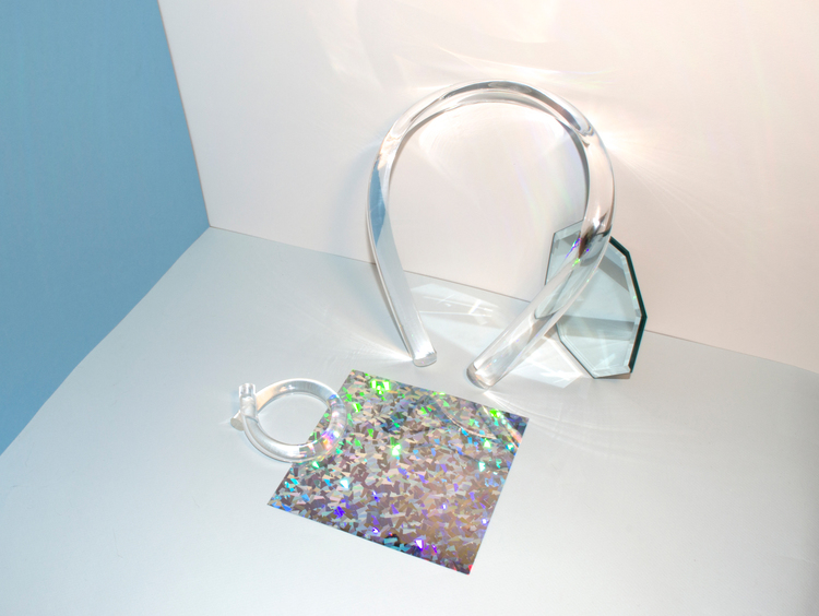 "Michelle Yue, ""Untitled,"" 2014. Collar: Plexiglas, Bangle: Plexiglas Collar: 9.5 x 7.5 x 1.75 inches, Bangle: 3 x 3.25 x 1.25 inches.   Photo: Andi Valentine"