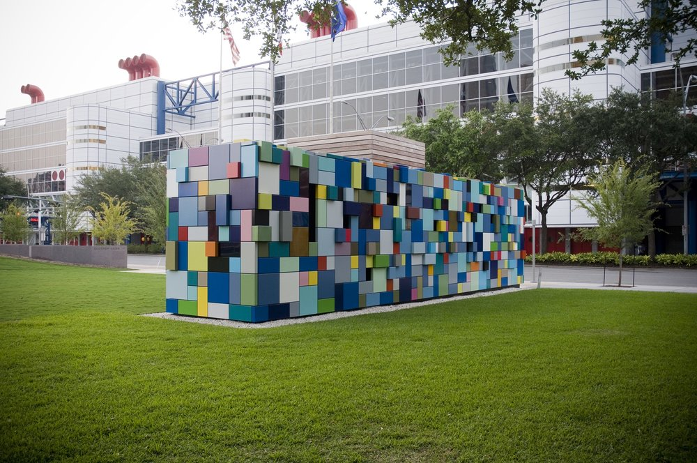 Margo Sawyer, 2008,  Synchronicity of Color , Discovery Green, Houston, TX, Houston Municipal Art Collection. Photo: Beryl Striewski