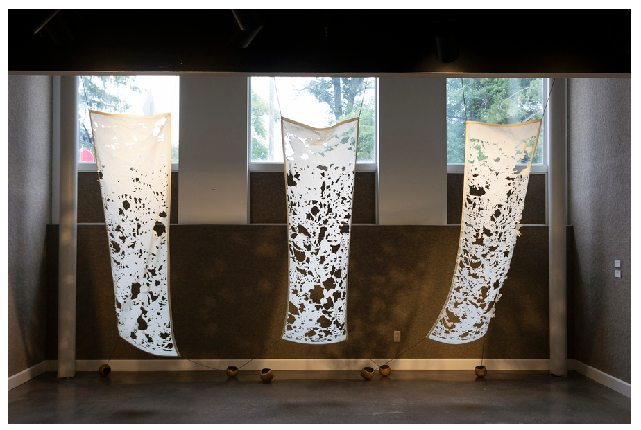 Visiting Landscapes A, B, and C   2018 beeswax, muslin fabric, paracord, thread, elm wood, raw liquid photographic emulsion installation dimensions variable, each panel measures 85 x 24 inches