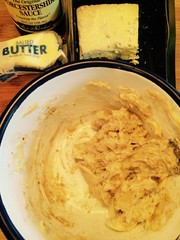 The mixture of Gorgonzola cheese, softenedbutter, garlic and Worcestershire sauce