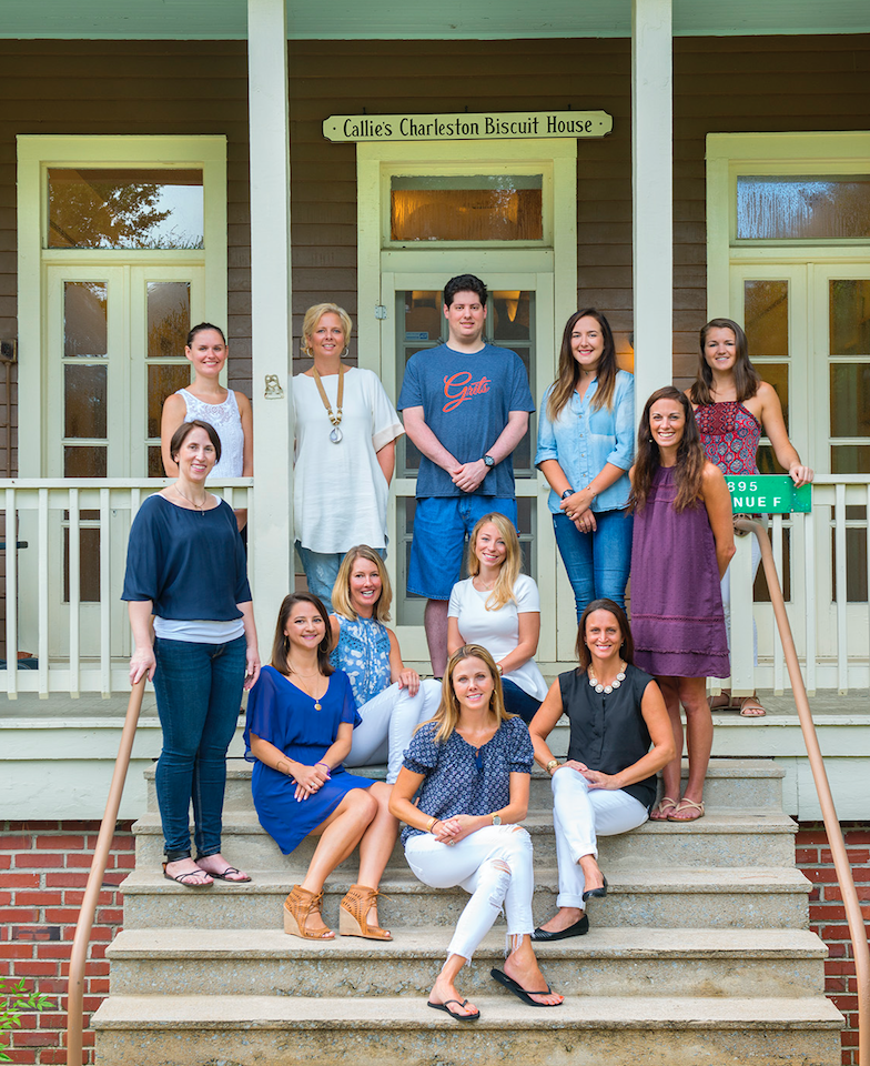 Our small team at Callie's Charleston Biscuits who help keep the Southern tradition of biscuit making alive. Standing from left: Stephanie, Kelsey, Amy, Coleman, Leah, Angela, Megan   Seated from left: Alex, Amanda, Ashton, Misty, Carrie