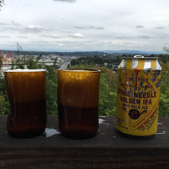 Nothing like a pair of heady #spaceneedleipa s under a perfect grey #seattle sky...