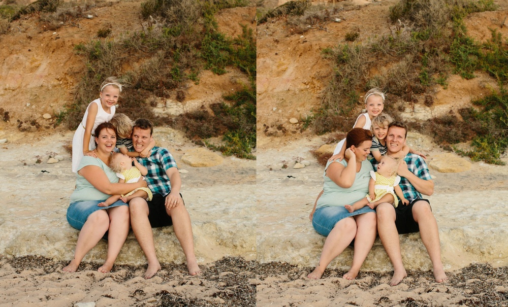 Natural image of a family of 5 at an Adelaide Beach.