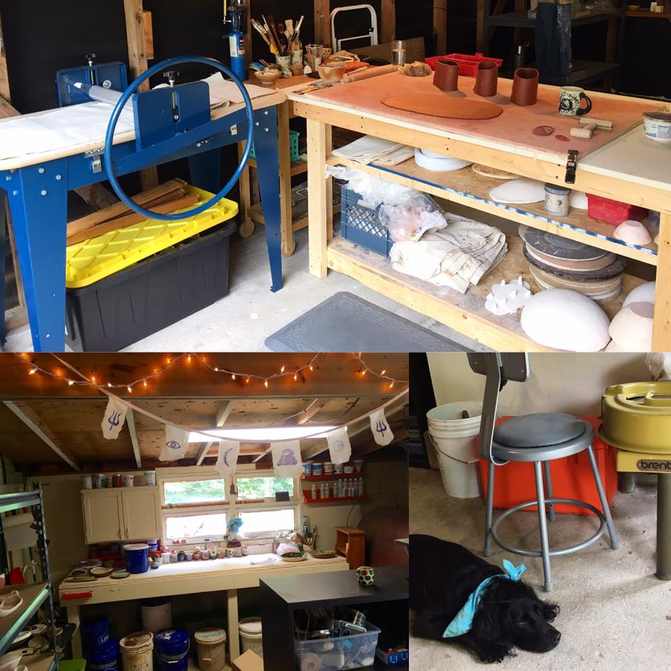 I bought a slab roller, put up some fancy christmas lights, painted some areas white. Bottom left pic is my glaze area. Bottom right is Lulu the dainty studio dog.
